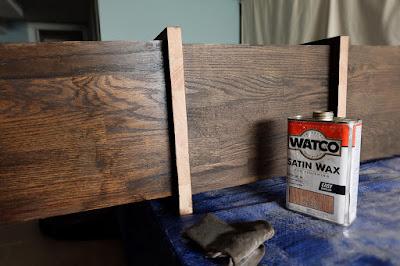 satin wax brown stain album shelving storage