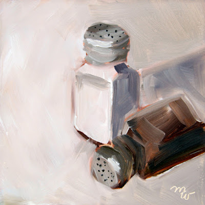 Salt and Pepper oil painting by artist Merrill Weber