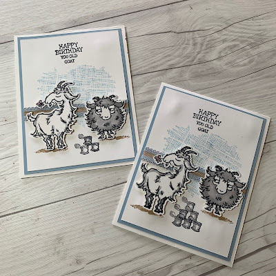 Two Cards using two snarky goat images from Stampin' Up! Way To Goat Stamp Set