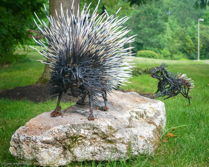 Portland, Maine USA July 2016 photo by Corey Templeton of Porcupine sculpture at PWM Jetport by artist  Wendy Klemperer.