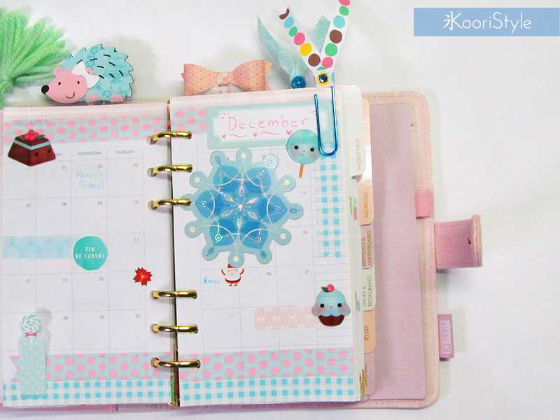 DIY, Kawaii, Cute, Koori Style, KooriStyle, Koori, Style,  Planner, Planning, Kikki K, Filofax, Decoration, Monthly, Washi Tape, Sticky Notes, Christmas, Xmas, December, Ring Planner