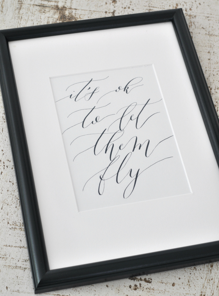 Free Calligraphy Printable 'It's ok to let them go'