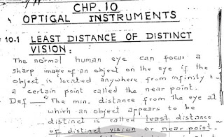 1st Year Physics Chapter 10 Optical Instruments Notes pdf