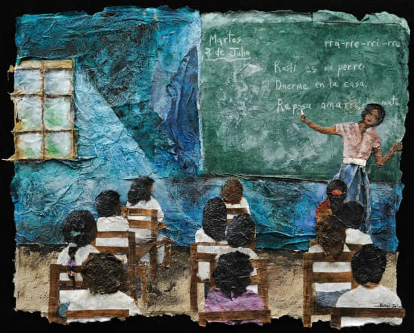 textured paper collage of classroom with seated students watching teacher standing at chalkboard