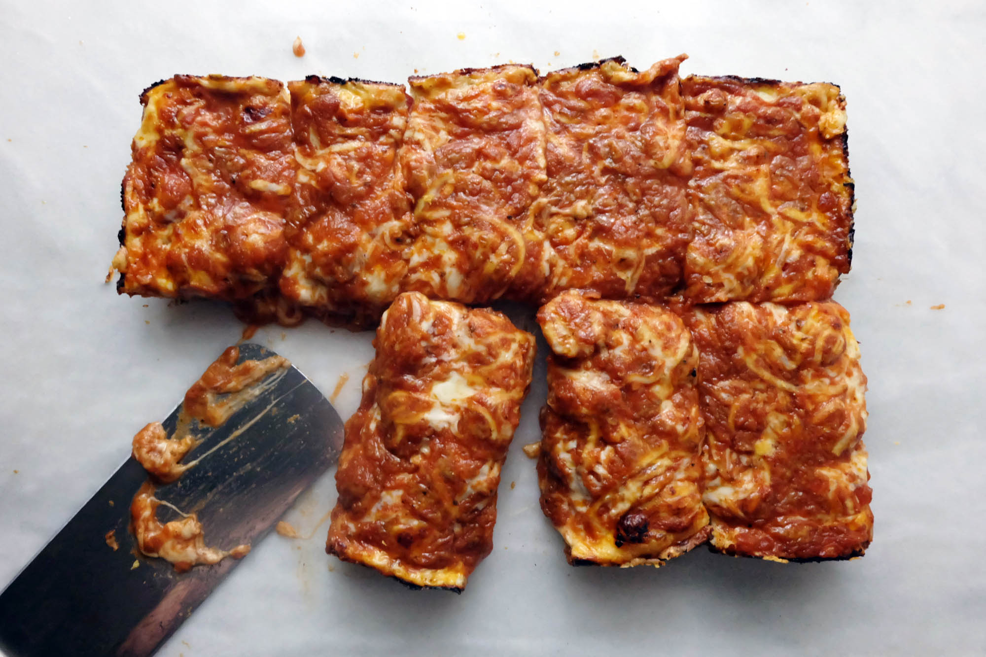 baked and sliced Detroit style pizza