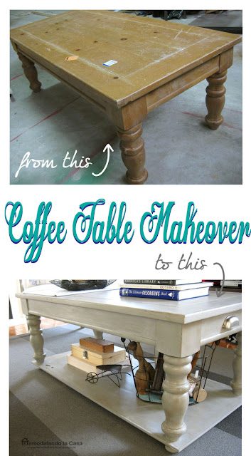 a thrifty coffee table is transformed with paint and a new shelf