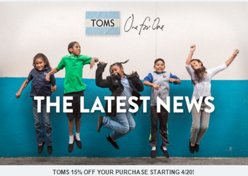 TOMS 15% Off Entire Purchase Promo Code