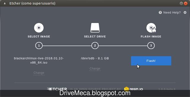 DriveMeca creando USB/SD booteable con Etcher paso a paso