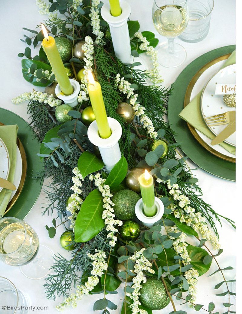 green gold christmas holiday tablescape with ideas on diy table decorations party food menu - Green Christmas Table Decorations