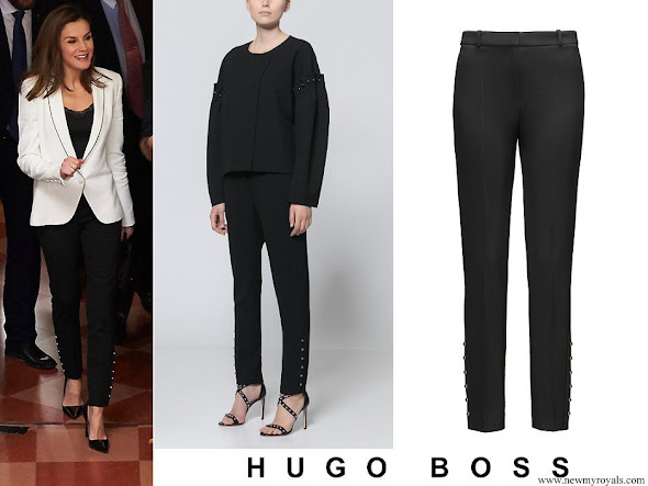 Queen Letizia wore HUGO BOSS Heylen Trousers