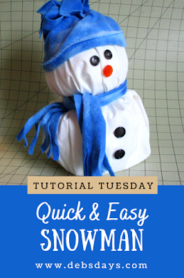 Easy Homemade Stuffed Fabric Snowman Made from a Roll of Toilet Paper