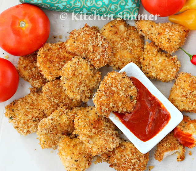 Kitchen Simmer: Oven Baked Parmesan Cheese Chicken Nuggets