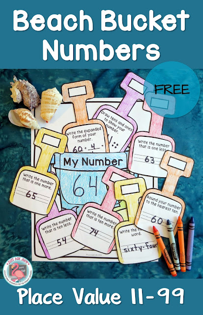 This free, versatile beach bucket and shovel activity can be used to help maintain place value skills that might otherwise be lost during the summer slump! It is perfect for reviewing and reinforcing place value skills with first and second graders at the end of the school year, during the summer or the beginning of the school year.