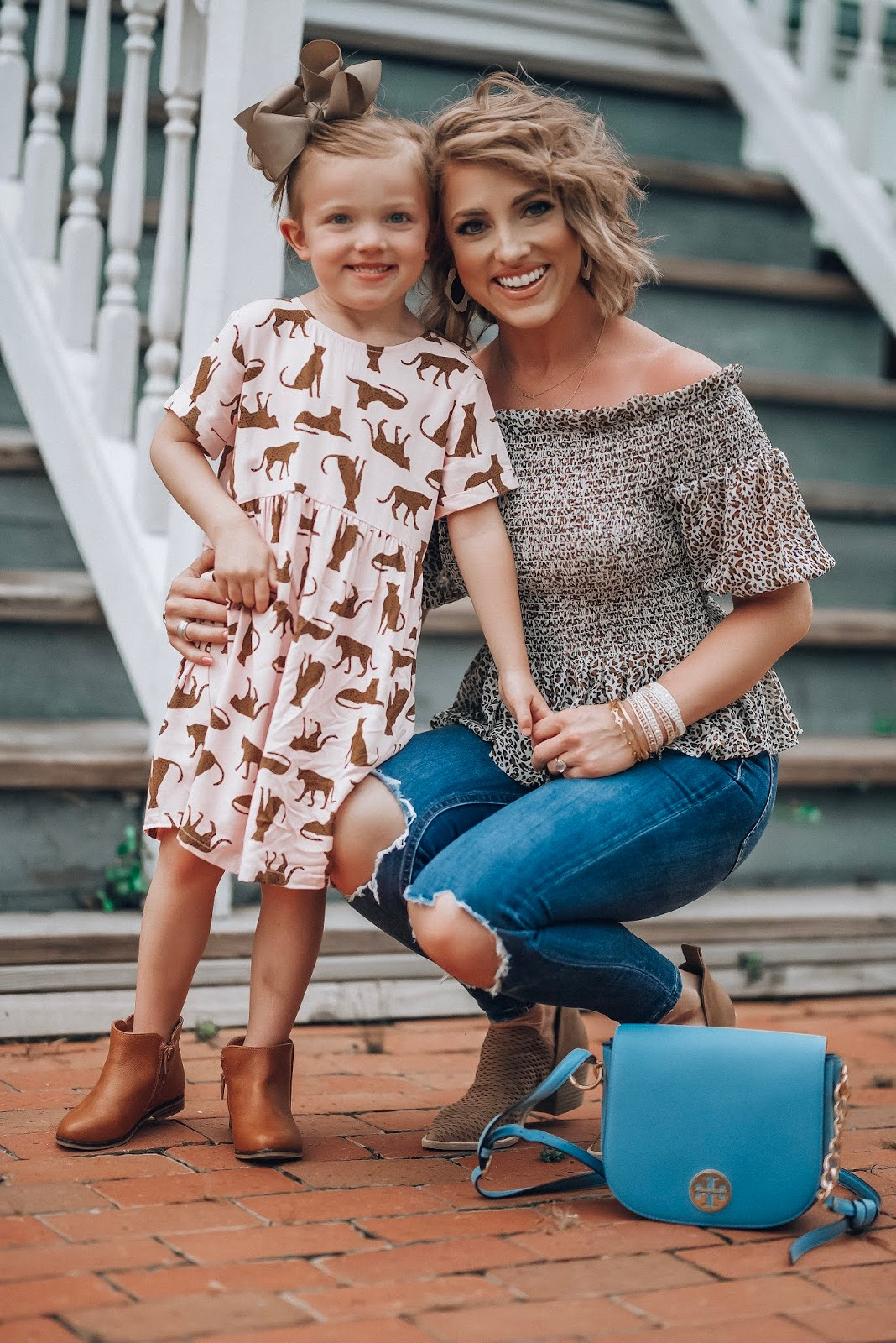 Mommy and me leopard style - Under $50 Smocked Leopard Peplum Top, Busted Knee Jeans, Perforated Booties and toddler girls leopard dress - Pre-Fall Style - Something Delightful Blog