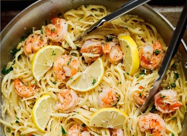 Creamy Lemon Garlic Shrimp Pasta #dinner #pasta