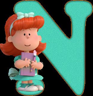 Abecedario Celeste Peanuts, Charlie Brown. Light Blue Alphabet Peanuts.
