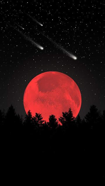 Papel de Parede Lua Vermelha, Noite, Floresta, Estrelas Cadentes para Celular e iPhone