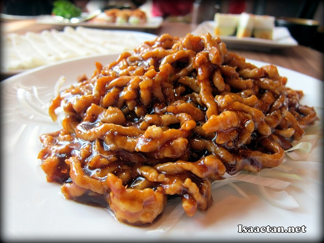 A close up of the sauteed shredded pork