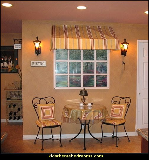 French cafe Paris Bistro style decorating ideas - French Country theme decorating  ideas - French cafe