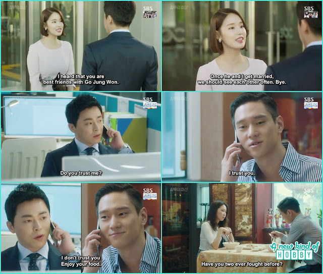hwa shin when knew jung won is engaged he called him and told he didn't trust him while jung won having lunch with na ri  - Jealousy Incarnate - Episode 8 Review