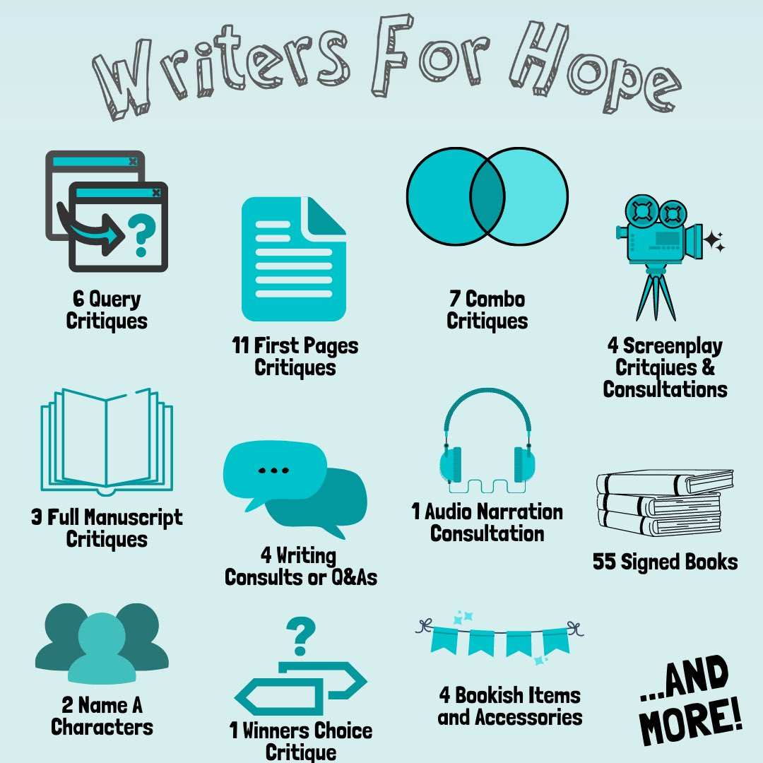 Writers for Hope graphic listing categories of available auction items