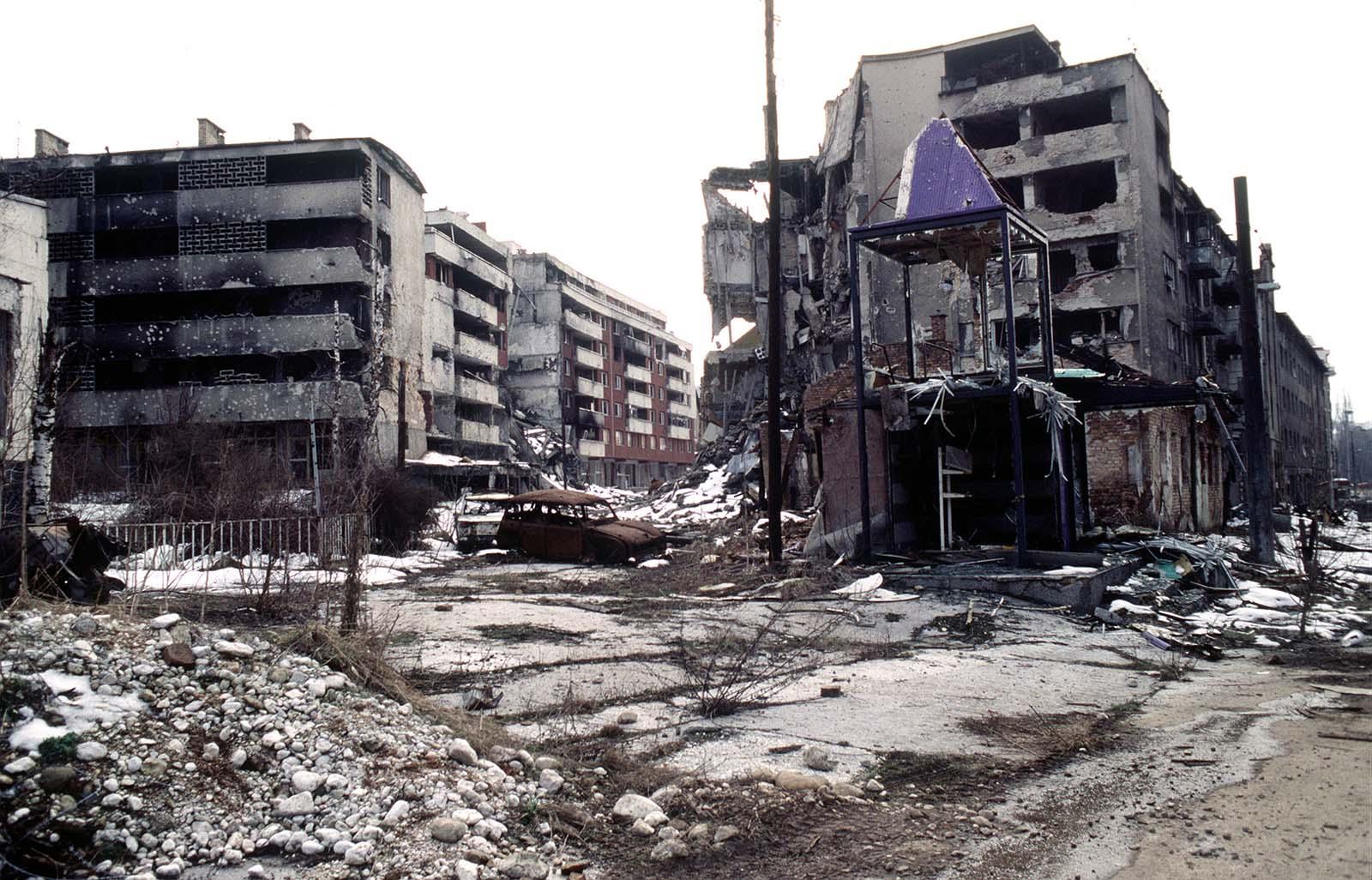 Sarajevo during the siege.