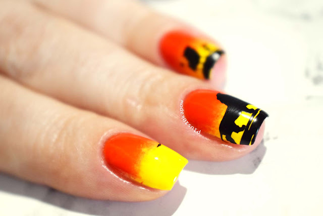 Barry M Gelly Banana Split and Tangerine Swatch and Lion King Nail Art