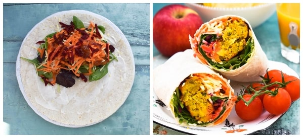 Onion Bhaji Lunch Wrap - Step 3 - grated vegetables & sauce