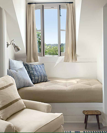 Window seat with Belgian linen in Texas modern farmhouse by Eleanor Cummings