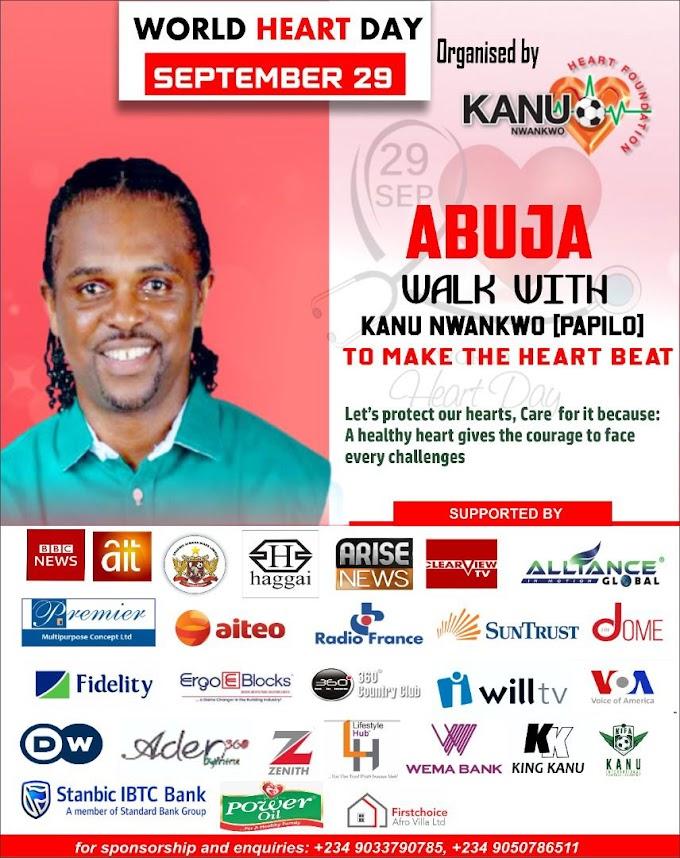 World Heart Day: Kanu Nwankwo Foundation To Hold Abuja Walk With Kanu, Free Medical Checkups