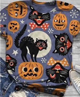 Halloween Pumpkin Cat Print Casual T-shirt