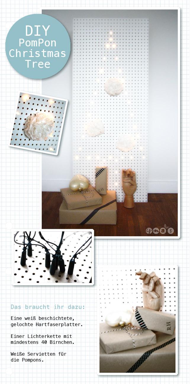 DIY Weihnachtsbaum, Weihnachtsdeko modern, Pompons