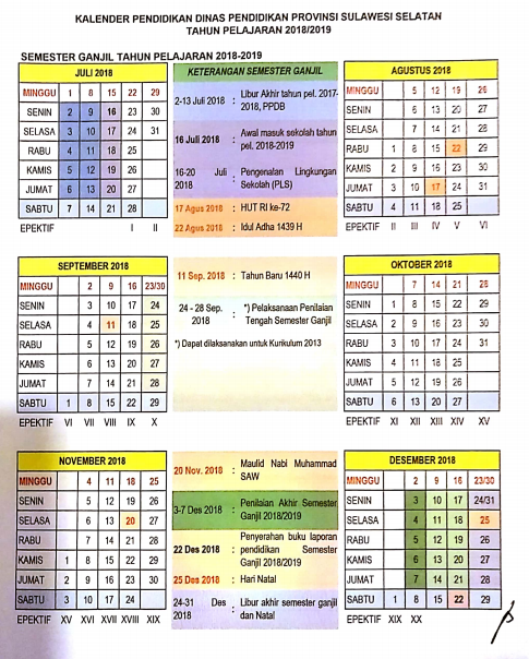 Kalender Pendidikan Sulawesi Selatan 2018/2019