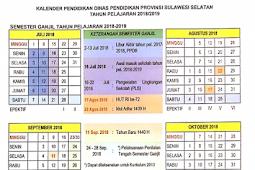 Kalender Pendidikan Tahun Pelajaran 2018/2019 Provinsi Sulawesi Selatan