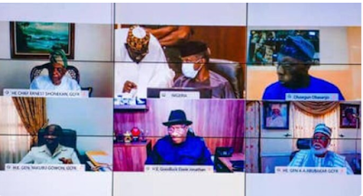 BREAKING: Buhari meets Obasanjo, Jonathan, others amidst chaos in many states