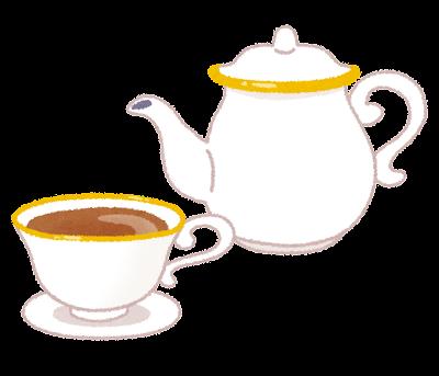 ティーセットのイラスト「ティーカップとティーポット」