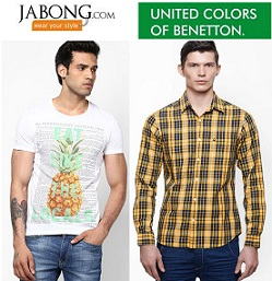 United Colors of Benetton: Min 50%+ Extra 25% Discount+ 20% Freecharge Cashback at Jabong