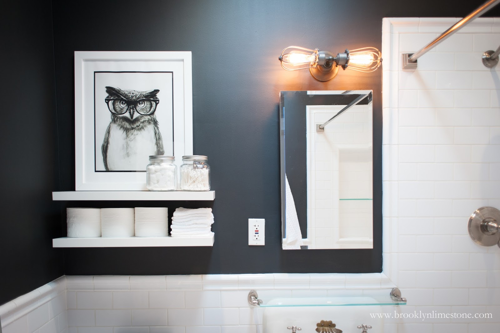 black and white bathroom mini makeover complete brooklyn limestone