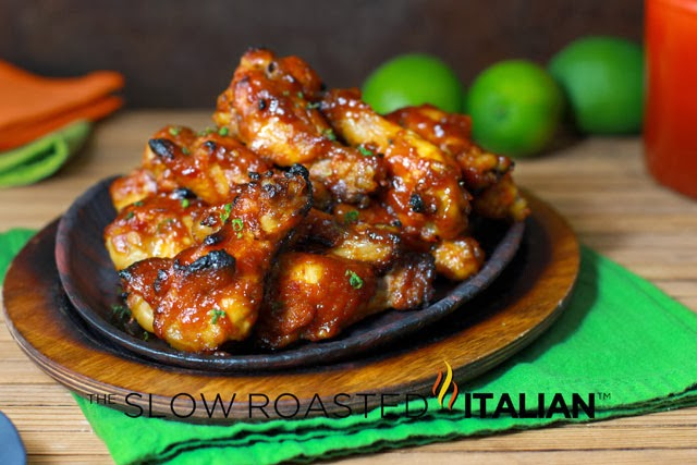 http://www.theslowroasteditalian.com/2013/10/sriracha-honey-baked-chicken-wings-recipe.html