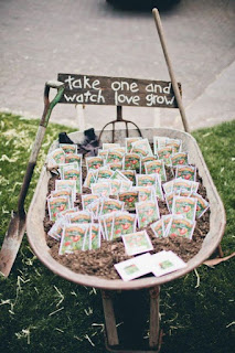 zero-waste wedding favor wheelbarrow full of seeds