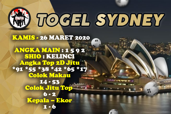 Prediksi Sidney Terjitu Kamis 26 Maret 2020 - Prediksi Mafia
