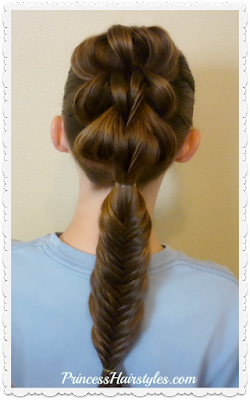 3 strand pull through and fishtail braid combo. (Video tutorial.)