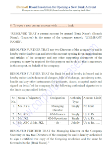 format of board resolution for opening current account with bank