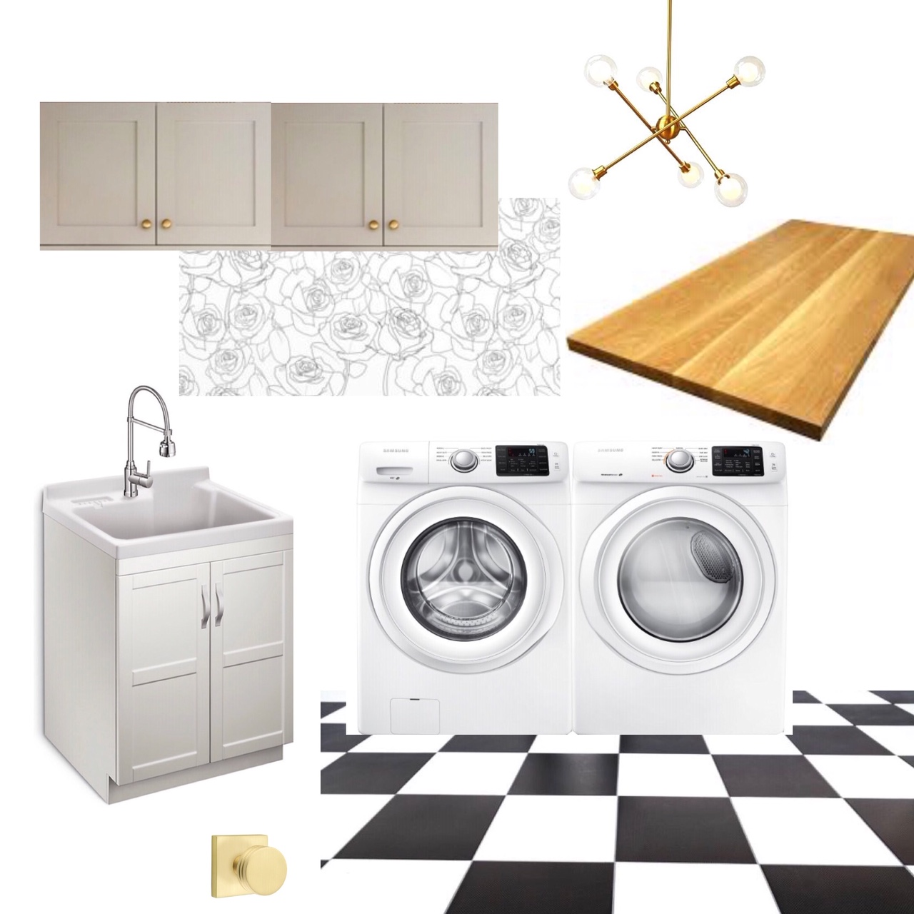 laundry room moodboard - One Room Challenge