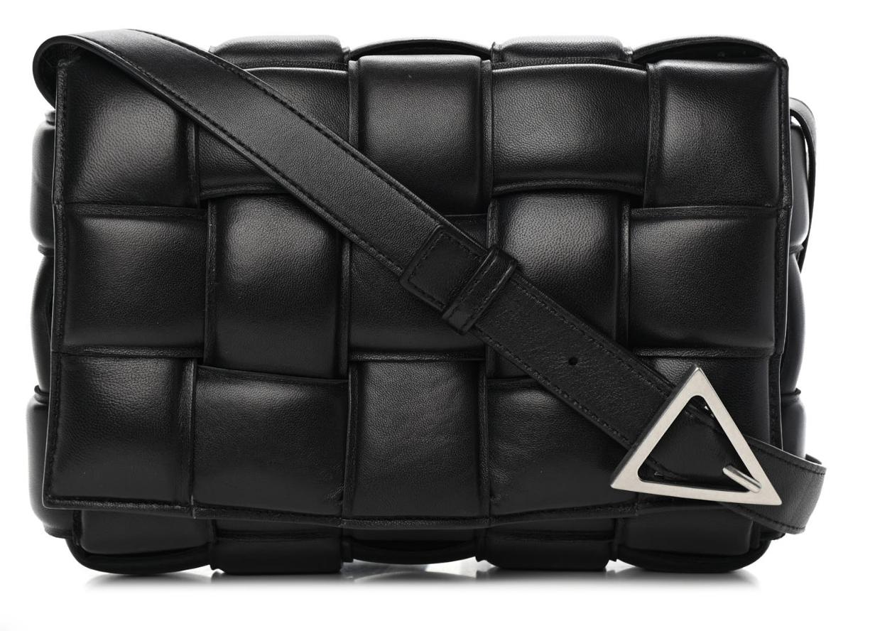 BOTTEGA VENETA Nappa Maxi Intrecciato Padded Cassette Crossbody Bag Black