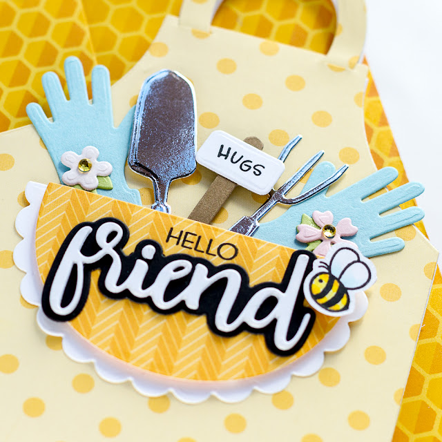 Garden, Apron Shaped, Birthday Card,Scrapbook and Cards Today Magazine, feature, bee themed, Card Making, Stamping, Die Cutting, handmade card, ilovedoingallthingscrafty, Stamps, how to,patterned paper,
