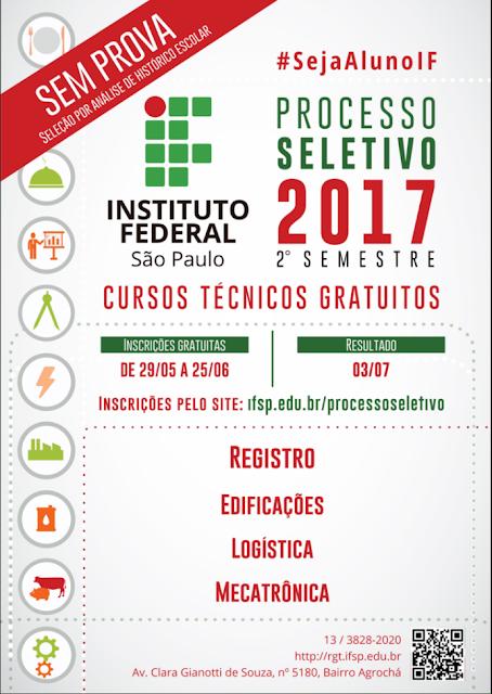 Processo Seletivo do IFSP Campus Registro-SP oferece 120 vagas nos cursos técnicos