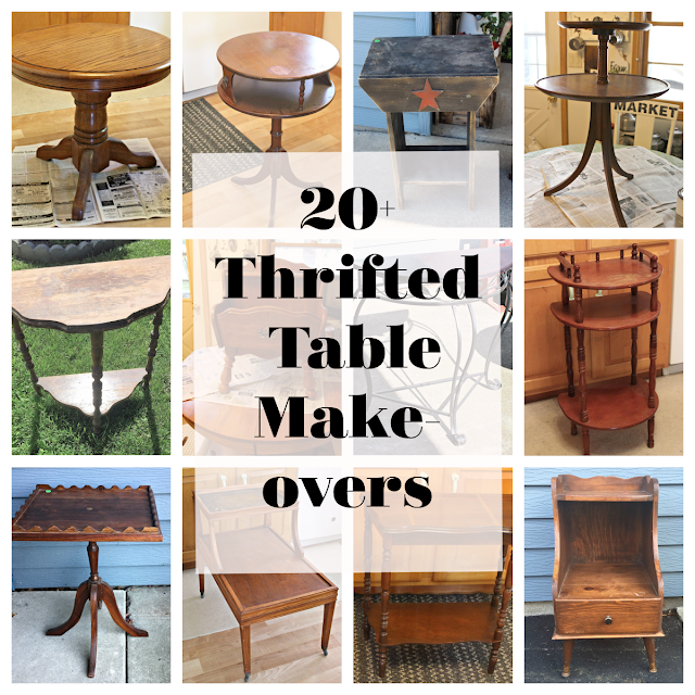 Photo collage of old garage sale/thrift shop tables