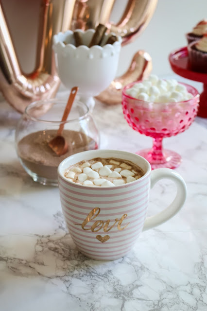 Hot chocolate in a love mug Simple Valentine's Day party