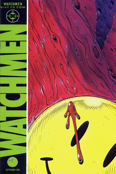 'Watchmen' #1 cover of smiley-face pin with red stain against a river of blood on the street